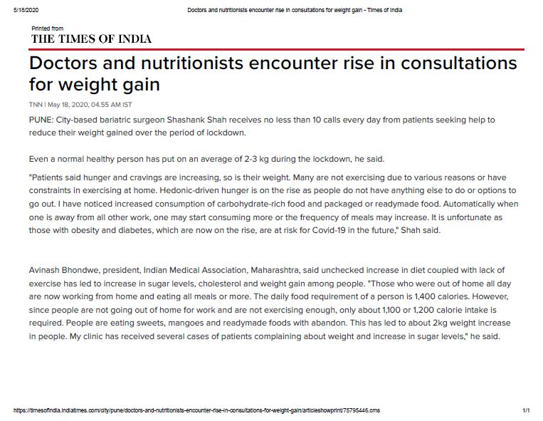 Doctors and nutritionists encounter rise in consultations for weight gain